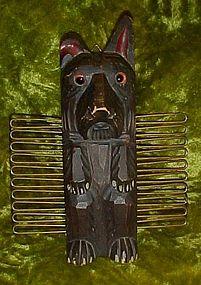 Hand carved wood scotty dog tie scarf rack, glass eyes