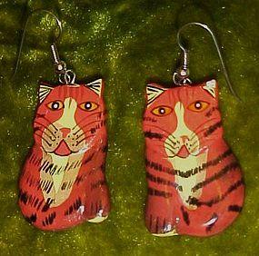 Cute hand painted wood kitty cat pierced earrings