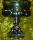 Indiana glass Kings Crown blue carnival compote