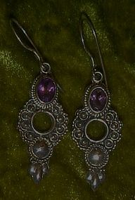 Real amethyst and sterling silver pierced earrings