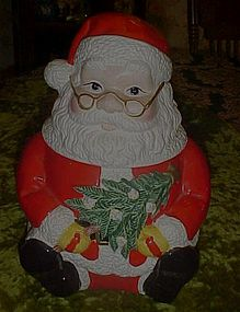 Jolly sitting Santa Claus, ceramic cookie jar