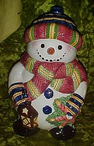 Ceramic Snowman with lantern cookie jar