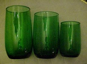 """Anchor Hocking forest green roly poly tumbler 5"""""""