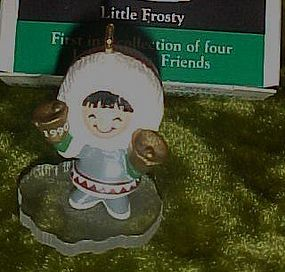 Hallmark Little Frosty Friends miniature ornament, box