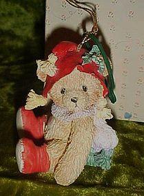 Cherished Teddies bear with Holly on hat ornament w/box