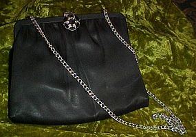Vintage Ande  black satin purse with rhinestone closure