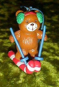 Avon Frosty Treats ornament, bear on candy cane skiis