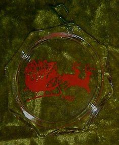 Crystal glass ornament 1987, Santa, sleigh and reindeer