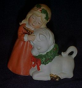 Enesco girl and unicorn Christmas figurine 1984
