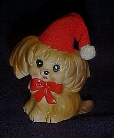 Vintage Josef Originals Christmas puppy figurine