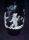 """Libbey blue Mary Gregory  glass tumbler 4 3/4"""" tall"""
