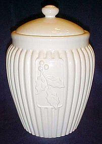 Stonelite white cookie jar with holly, by Inspirado