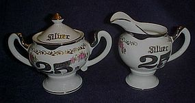 Vintage Norcrest Silver anniversary creamer sugar 25th