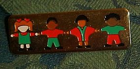 Children  multi cultural gold tone teachers pin