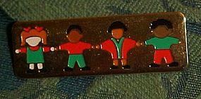 Children  multi cultural gold tone teachers pin