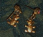 Gold tone teddy bear earrings post backs