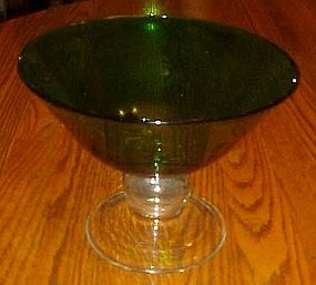 Forest Green footed compote, clear stem