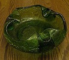 Vintage Viking nile green crackle glass cigar ashtray