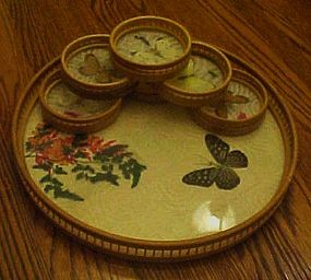 Real  butterfly wing bamboo tray w  6 matching coasters