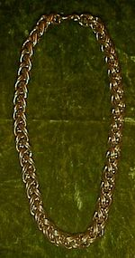 Vintage Monet double link cable chain choker necklace