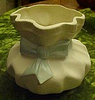 Vintage ceramic nursery sack vase planter with blue bow