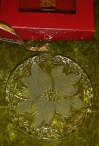 Mikasa festive poinsettia crystal ornament