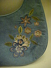 Vintage 1970's LULU blue suede purse with embroidery