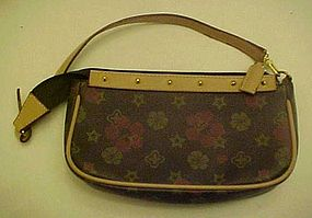 Ladies leather purse with floral print, like new