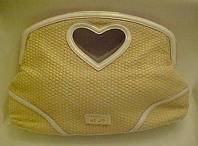 Great XOXO woven tote purse with heart handle