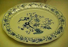 Double Phoenix blue and white Ming tree oval platter 14