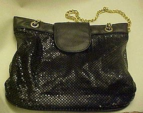 Large vintage black mesh purse, chains & leather