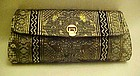 Vintage clutch purse black with metallic weave pattern