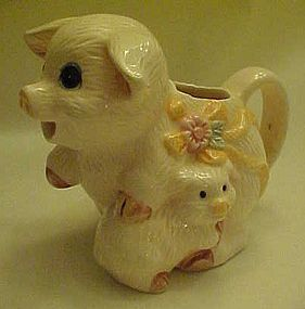 Adorable Pig and baby ceramic creamer