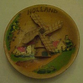 Pyrography mini souvenir plate from Holland Windmill