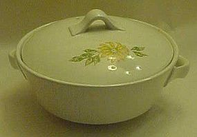 Older heavy china  vegetable bowl  w lid  yellow daisy