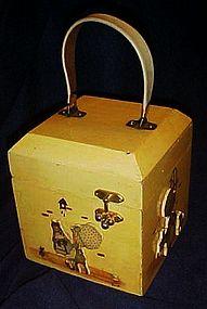 Vintage Holly Hobbie wood crafted purse