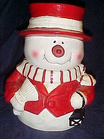 Festive friendly snowman  ceramic cookie jar