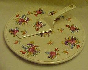 Vintage  Floral chintz cake plate and  dessert server
