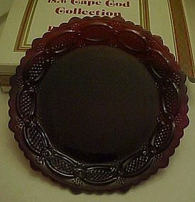 Avon ruby red Cape cod dessert plates boxed set of 2