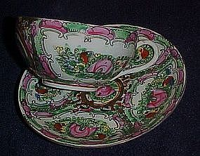 Antique Chinese rose famille cup and saucer