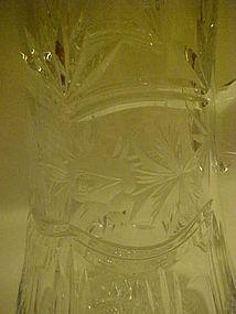 Beautiful  tall rose cut  crystal pitcher ewer