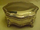Large silver plate jewelry box  velvet lined w/ lions