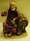 Hand painted Monk drinking wine, keg, figurine