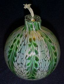 Green and white art glass candle oil diffuser