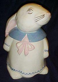 Vintage white rabbit in a dress cookie jar