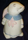 Vintage white rabbit in a dress cookie jar