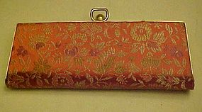 Vintage ladies eyeglasses case silk brocade