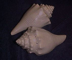 Large lustreware seashell salt and pepper shakers