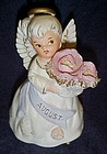 Lefton bisque August Birthday Angel figurine