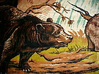 "Large vintage Tapestry Rug of wild bears 76"" x 49"""